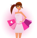 Shopper - shopping girl with pink shopping bags Royalty Free Stock Photos