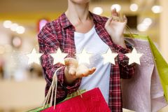 Shopper shows store rating . Shopper shows store rating of five stars royalty free stock photos