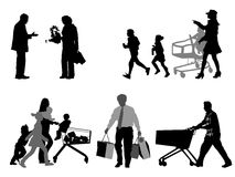 Shopper silhouettes Royalty Free Stock Photography