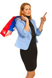 Shopper woman pointing Stock Photo