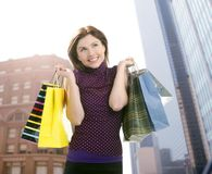 Shopper woman shopping on the city Stock Photos