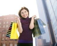 Shopper woman shopping on the city stock photos