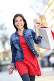 Shopper - woman shopping outside Royalty Free Stock Photography