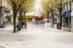 Shoppers on Albert Street, Nottingham, motion blur Stock Photo