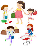 Shoppers with bags and cart. Illustration Stock Image