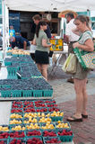 Shoppers & Berries & Cherries at Farmer's Market Stock Photography