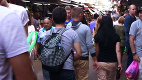Shoppers is Carmel Market in Tel Aviv, Israel stock video footage