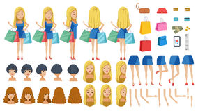 Shoppers. Dress adolescence. animated character creation set. Icons with different types of faces, hair style, emotions,icon,front, rear, side view of female Royalty Free Stock Photos