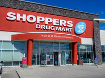Shoppers Drug Mart outlet. On May 29, 2015 in Calgary, Alberta Canada. This Shoppers is in Aspen Landing, an extremely popular shopping area in Calgary's area Royalty Free Stock Images