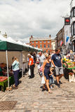 Shoppers at english open air market Royalty Free Stock Images