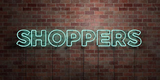 SHOPPERS - fluorescent Neon tube Sign on brickwork - Front view - 3D rendered royalty free stock picture. Can be used for online banner ads and direct mailers Stock Photography