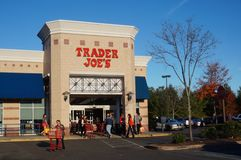 Shoppers in front of a Trader Joe`s store in New Jersey stock photos