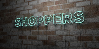 SHOPPERS - Glowing Neon Sign on stonework wall - 3D rendered royalty free stock illustration. Can be used for online banner ads and direct mailers Stock Images