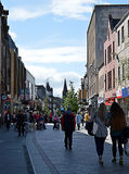 Shoppers, High Street, Perth, Scotland. Shoppers in Perths pedestrianised High Street stock photography