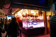 Shoppers at La Boqueria Royalty Free Stock Images