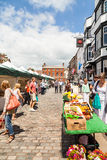 Shoppers at Leek's open air market Royalty Free Stock Photos