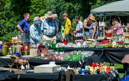 Shoppers at an outdoor flea market Stock Images