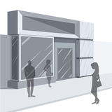 Shoppers outside storefront Stock Photo
