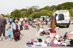 Shoppers at Prestatyn open air market and carboot sales. Royalty Free Stock Photos