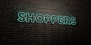 SHOPPERS -Realistic Neon Sign on Brick Wall background - 3D rendered royalty free stock image. Can be used for online banner ads and direct mailers Stock Image