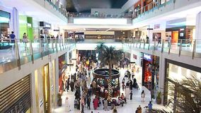 Shoppers Rush at Dubai Mall stock video footage