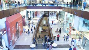 Shoppers Rush at Dubai Mall stock footage