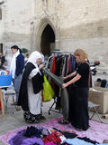 Shoppers search for bargains at a weekly flea market Royalty Free Stock Image