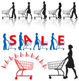 Shoppers Shopping Carts People. Five men & women shoppers push shopping carts. A SALE sample design, a shopping-carts element vector illustration