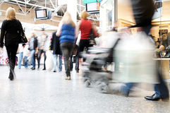Shoppers at shopping center Stock Images