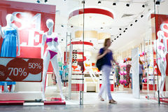Shoppers at shopping center Stock Photography
