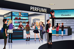 Shoppers shopping for cosmetic in a department store. A vector illustration of shoppers shopping for cosmetic in a department store Stock Photo