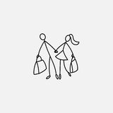 Shoppers Stick Figure Pictogram Icon Royalty Free Stock Photography