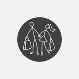 Shoppers Stick Figure Pictogram Icon. Shoppers stick figure people family icon vector Royalty Free Stock Image