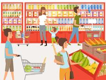 Shoppers in supermarket. Background illustrations of peoples near shelves of store. Supermarket store with shopper, market grocery vector stock illustration