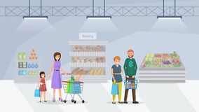 Shoppers in supermarket flat vector illustration. Customers visiting baking department in shopping mall. Mother and daughter pushing full cart, married couple stock illustration