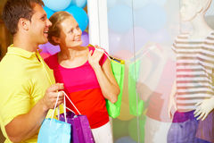 Shoppers in trade center Royalty Free Stock Photo