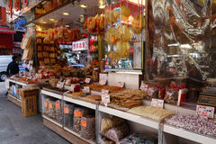 Shoppers visit the dry food shop in Hong Kong Stock Photos
