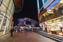Shoppers and visitors crowd the famous Dongmen Pedestrian Street. Dongmen is a shopping area of Shenzhen stock images