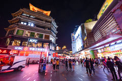 Shoppers and visitors crowd the famous Dongmen Pedestrian Street. Dongmen is a shopping area of Shenzhen royalty free stock photo