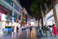Shoppers and visitors crowd the famous Dongmen Pedestrian Street. Dongmen is a shopping area of Shenzhen stock photography
