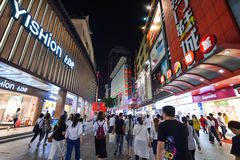 Shoppers and visitors crowd the famous Dongmen Pedestrian Street. Dongmen is a shopping area of Shenzhen royalty free stock photos