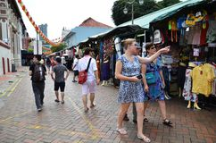 Shoppers walk through Chinatown in Singapore Royalty Free Stock Images