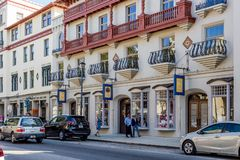 Shops in downtown St. Augustine, Florida. Shoppers walking on sidewalk outside stores in downtown shopping district of St. Augustine, Florida, USA stock photos