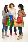 Shoppers women having conversation Stock Photos