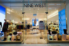 The Shoppes at Marina Bay Sands. SINGAPORE - NOVEMBER 08, 2015: interior of Nine West store in The Shoppes at Marina Bay Sands. Nine West, also 9 West, is a Royalty Free Stock Photo