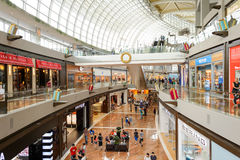 The Shoppes at Marina Bay Sands. SINGAPORE - NOVEMBER 08, 2015: interior of The Shoppes at Marina Bay Sands. The Shoppes at Marina Bay Sands is one of Singapore' Royalty Free Stock Image
