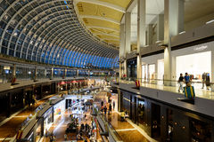 Shoppes at Marina Bay Sands. SINGAPORE - NOVEMBER 08, 2015: interior of The Shoppes at Marina Bay Sands. The Shoppes at Marina Bay Sands is one of Singapore's Stock Image