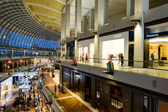 Shoppes at Marina Bay Sands. SINGAPORE - NOVEMBER 08, 2015: interior of The Shoppes at Marina Bay Sands. The Shoppes at Marina Bay Sands is one of Singapore's Royalty Free Stock Images