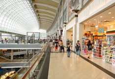 The Shoppes at Marina Bay Sands. SINGAPORE - NOVEMBER 08, 2015: interior of The Shoppes at Marina Bay Sands. The Shoppes at Marina Bay Sands is one of Singapore' Royalty Free Stock Images