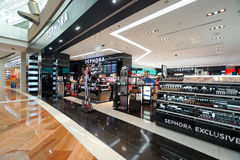 The Shoppes at Marina Bay Sands. SINGAPORE - NOVEMBER 08, 2015: interior of Sephora store in The Shoppes at Marina Bay Sands. Sephora is a French brand and chain Stock Image